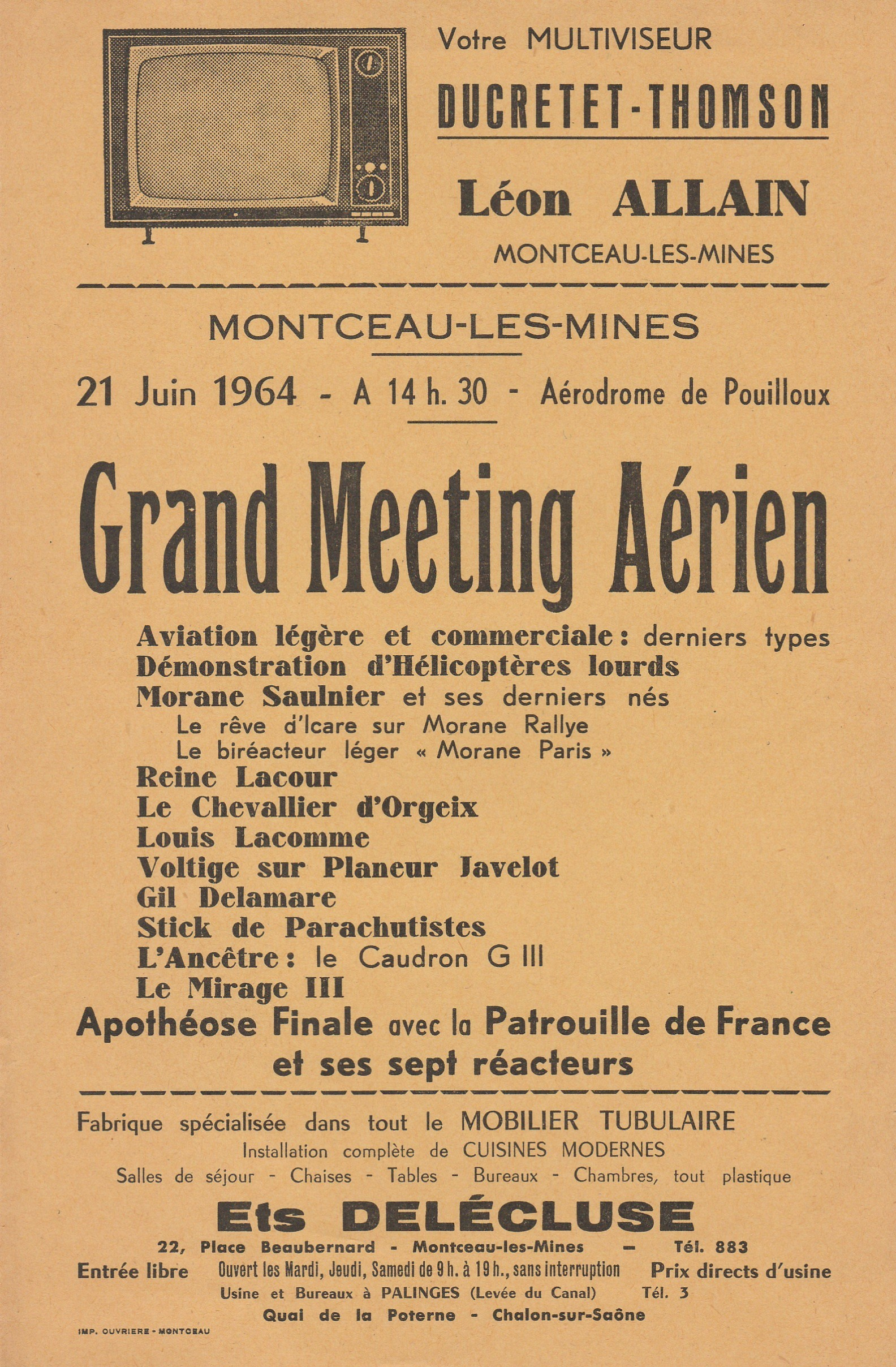 Affiche meeting 21 06 1964